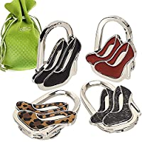 BMC Cute 4pc Mixed Designed Shoulder Handbag Folding Purse Holder Hangers Hooks Set - Stiletto Chic