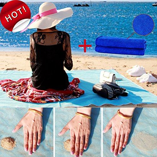 Toha sand free spiaggia tappetino xxl,sabbia spiaggia stuoia tappeto picnic,facile da pulire,perfetto per la spiaggia,picnic,campeggio,attività all'aperto 150cmx200cm (blu)