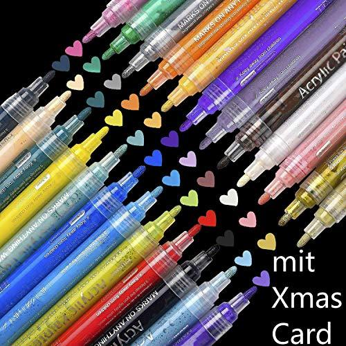 SUPERSUN 24 Farben Acrylfarben Acrylstifte Wasserfest, Holz Stifte Wasserfest Stift für Leinwand, Holz, Steine, Fotoalbum, Glasmalerei, DIY-Handwerk (10 DIY Karten)