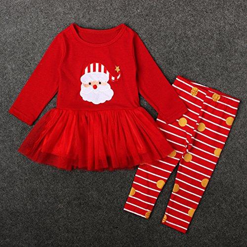 LNLZ LNLZweihnachten mädchen Anzug, Santa Claus, langärmelige gestreiften Hosen, im frühling und Herbst,Rot - rot,Die 100 ()
