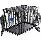 Songmics XXXL 2 Türen Hundekäfig Transportkäfig aus extra starkem Draht stabil und zusammenfaltbar (Schwarz, XXXL)