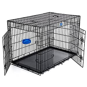 """SONGMICS XXL 48"""" Dog Puppy Cage Foldable Metal Pet Carrier 2 Doors with Tray black PPD48H"""