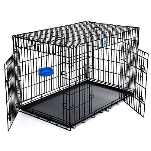 SONGMICS Hundekäfig Hundebox Transportbox Drahtkäfig Katzen Hasen Nager Kaninchen Geflügel Käfig schwarz XXXL PPD48H