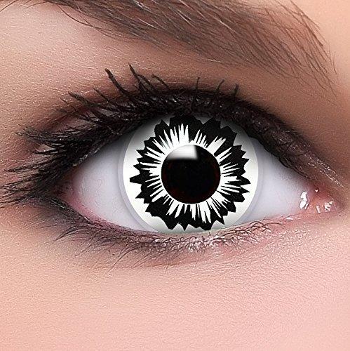 Farbige Kontaktlinsen 'Splitter' in schwarz & weiß, weich ohne Stärke, 2er Pack inkl. Behälter - Top-Markenqualität, angenehm zu tragen und perfekt zu Halloween oder Karneval