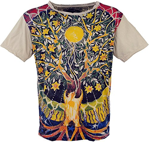 Guru-Shop Mirror T-Shirt - Tree of Life/Beige, Herren, Baumwolle, Size:L, Bedrucktes Shirt Alternative Bekleidung