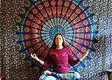 folkulture Floral Fiesta Mandala Tapisserie Bohemian Hippie Wandbehang Indian Queen Size Blau Boho Art Tagesdecke Bettwäsche Decke für Schlafzimmer