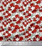 Soimoi Rot Poly Georgette Stoff Blätter & Blumen abstrakt