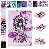 E-Mandala Universal 7 Zoll Hülle Etui Flip Case Leder Wallet Cover Tablet PC Tasche mit Kartenfach Klapphülle Ledertasche Lederhülle - Traumfänger Feder Eule