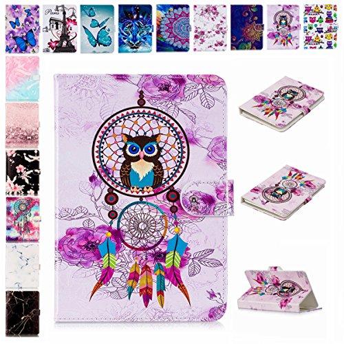 E-Mandala Universal 8 Zoll Hülle Etui Flip Case Leder Wallet Cover Tablet PC Tasche mit Kartenfach Klapphülle Ledertasche Lederhülle - Traumfänger Feder Eule