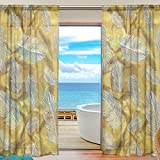 Yibaihe fenêtre Sheer Rideaux Panneaux fenêtre Traitement de Lot de voile en tulle Drapes Rideaux Doré Motif plumes de 198,1cm de long pour le salon Chambre de chambre 2panneaux