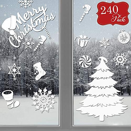 240 vetrofanie natalizie per finestre - decorazioni vetro natale adesivi fiocco di neve - decorazione festiva ideale per casa, ufficio o negozio