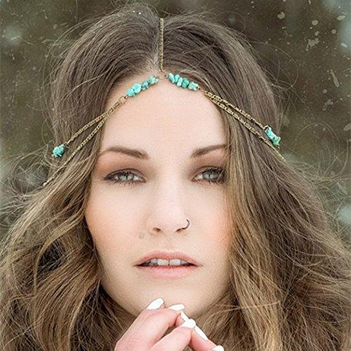 Jovono - Cadenas de cabeza bohemia con cuentas de turquesa natural, di