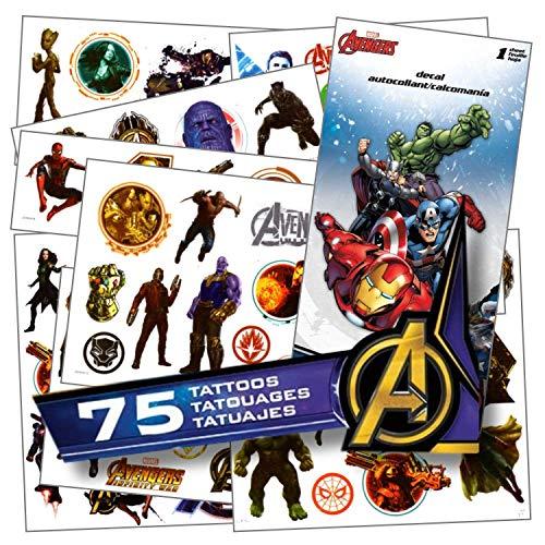 Avengers Tatouages-75Assortis Infinity War Tatouages temporaires fourni avec 1Jumbo Autocollant de