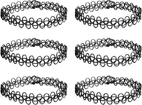 Elegant Rose 6 Stück Tattoo Choker Halskette Stretch Tattoo Henna Elastische Choker Halskette Set