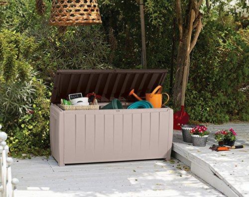 Keter 6007N Novel Storage Box, Auflagen und Universalbox mit Sitzgelegenheit, 340 Liter, beige / braun - 9