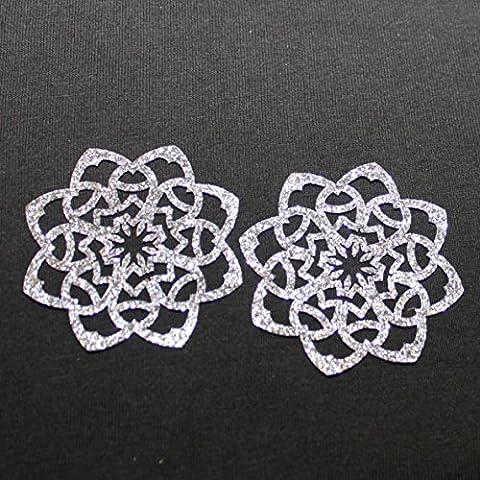 2 rosaces appliqué thermocollant GLITTER couleur gris titane