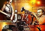 Tapeto Fototapete - Jazz Blues Musik - Vlies 254 x 184 cm (Breite x Höhe) - Wandbild Trompete Gitarre Instrumente