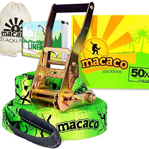 MACACO Opiniones SLACKLINE (16 M DE LONGITUD  50 MM DE ANCHURA  INCLUYE BOLSA DE TRANSPORTE)