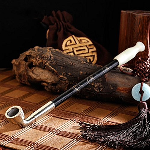 Liuyu · Maison de Vie Tabac Pipe Tabac Sacs Fumée Pot Tradition Jade Cigarette Titulaire Fumer Tuyau 23 cm