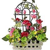 rerxn sistema europeo de rosa de seda de flores artificiales en maceta de madera valla casa decoración de la boda