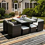 LIFE CARVER Garden Furniture sets Rattan Furniture sets Patio Set Dining Set Garden Entertaining Set Wicker Sofa 8 Seater Cub Chairs Stools able (Brown)