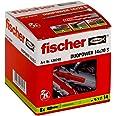 Fischer DUOPOWER 5 x 25 S - universele pluggen met schroef voor het bevestigen van hangkasten, wandplanken in beton, metselwe