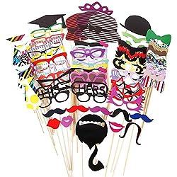 Leisial 76pz vetro colorato, baffi, labbra su un bastone photo booth Mask party Fun favor per matrimoni, Natale, compleanno addio al nubilato