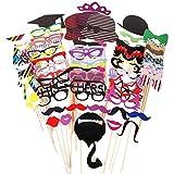Vi.yo 76pcs Divertido Photo Booth Props Bigote Eye Glasses Red Lips Lazos Máscara para la Boda de la decoración del Partido de Halloween de la Navidad