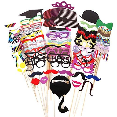 Cosanter Foto Requisiten 76-teilig Set für Fotoautomat mit bunten Brillen Schnurrbart Lippen Fliegen Hüte an Stäben für Hochzeit Party Weihnachten Geburtstag (Schnurrbart Baby Mit)