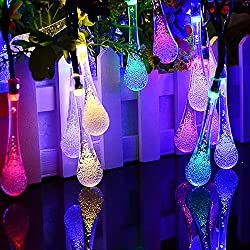 Solar Outdoor String Lights,TWOPAGES 20ft 30 LED Water Drop Solar String Fairy Waterproof Lights Christmas Lights Solar Powered String lights for Garden, Patio, Yard, Home, Christmas etc (multi color)
