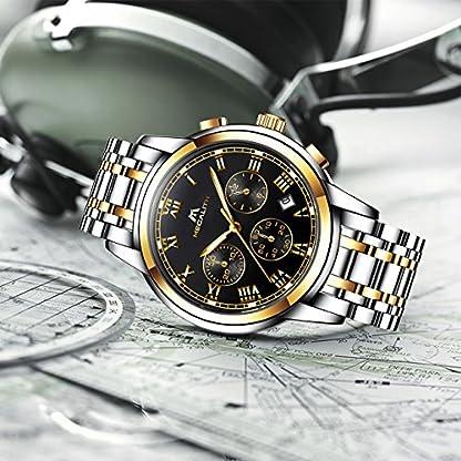 Herren-Edelstahl-Uhren-Mnner-Chronograph-Luxus-Design-Wasserdicht-Datum-Kalender-Armbanduhr-Geschfts-Beilufig-Mode-Kleid-Sport-Analog-Quarz-Uhr-mit-Gold-Gehuse-Rmische-Ziffern-Schwarz-Zifferblatt