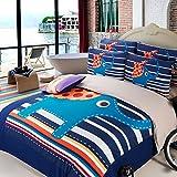 Los hombres simple cama de cuatro conjuntos de albergues estudiantiles gruesas cortinas de lino de cartoon ropa de cama tres pedazo de elefante (hojas) (6 ft) ,cama de 1,8 m