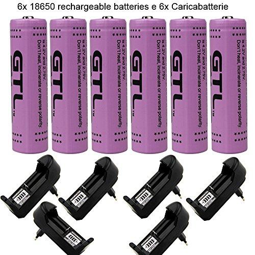 Galleria fotografica 6pcs Batteria 18650 e Caricabatterie per batterie ricaricabili, Batterie Ricaricabili 18650 Li-Ion/ 3800 mAh/15C/ 30A/ 3,7V