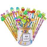 36pcs Kit de Crayon de Bois Enfantin avec des Caoutchoucs en Motifs Animaux Fruits Idéal pour Cadeau Fête Anniversaire Noël (36)