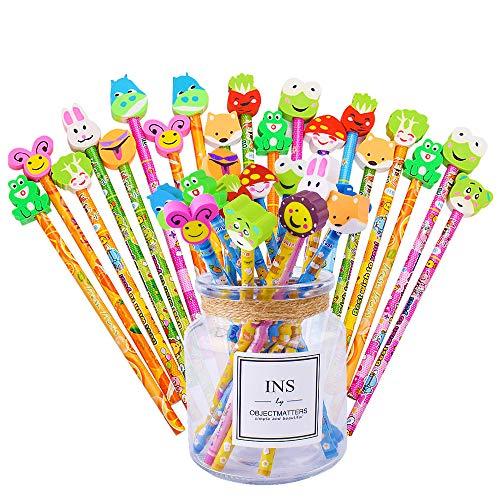 Udotra set 36 pcs matita in legno con gomma colorate bomboniera regalino per regalo bambini festa compleanno battesimo natale