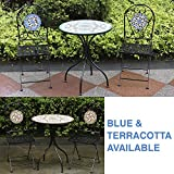 Woodside Mosaic Garden Table Folding Chair Set Outdoor Dining Furniture