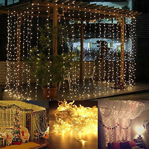 AGM 300er Led 3X3 Meter Lichterkette Drinnen Outdoor LED wasserdicht Fee-Schnur-Vorhang-Lichtfür Party,Weihnachten,Hotel,Festival...(Warmweiß)