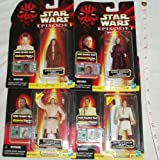 Star Wars - Episode 1 - 4 Figures - Queen Amidala, Obi-Wan Kenobi (Jedi Knight) with Lightsaber and Comlink, Qui-Gon Jinn (jedi master) with lightsaber and comlink and Anakin Skywalker (Naboo) with comlink unit