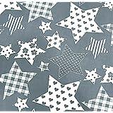 0,5m Stoff Sterne mit Muster unterschiedliche Größen gemustert grau