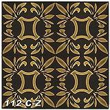 Sparpaket Deckenmusterung Renovierung Optik Interior Verzierung 50x50cm, Nr.112, Inhalt:20 m² / 80 Platten, Farbe:schwarz-gold