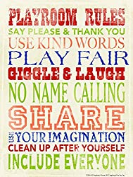 Heritage 1093 Playroom Rules Wall Decor, 10 x 8-Inch