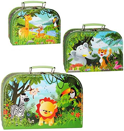 3 tlg. Set _ Kinderkoffer / Koffer - in 3 verschiedenen Größen - ' Tiere - Giraffe / Elefant /...