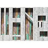 Vlies Fototapete PREMIUM PLUS Wand Foto Tapete Wand Bild Vliestapete - Abstrakt Betonmauer Formen Holz - no. 1264, Größe:312x219cm Vlies