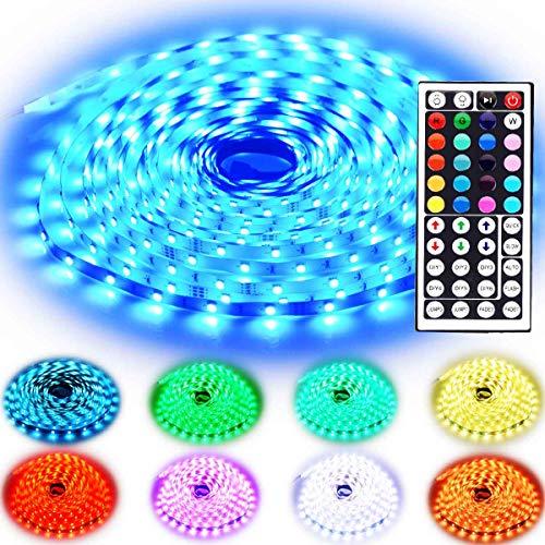 Rxment LED Streifen Beleuchtung 10M 32.8 Ft 5050 RGB 300 LED Flexible Farbe wechselnden Komplettpaket mit 44 Tasten IR-Fernbedienung, Kontrollbox, 24V 3A Netzteil für Heim Dekorative