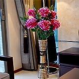 Emulazione di decorazioni di fiori kit vasi di fiori fiori falsificate soggiorno piano ornati di fiori di seta vaso rattan home decor decorazioni 6 supporto rosa pesca porto rotondo rattan Kit, 4 supporto primo peonia, porto di rattan