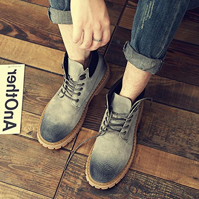 HL-PYL-Botas, Martin botas, zapatos de altura hombres, lijado y lijado sobre antiguos y Ocio amarillo,41,gris