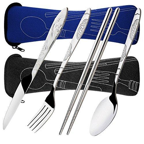 Senhai 8 Piezas Mostrada Conjuntos Cuchillo, Tenedor, Cuchara, Palillos, 2 Paquetes Vajilla con Estuche de Transporte para Viajar Cámping Picnic Excursionismo(Azul Oscuro, Negro)