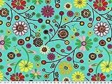 Baumwoll-Jersey , Blumen, türkis, 150cm