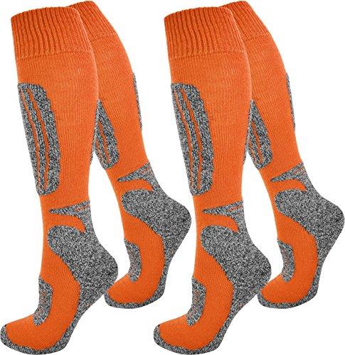 normani 4 Paar Ski-Socken für Damen und Herren Farbe N Orange Größe 47/50