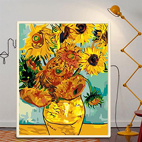 (MJW DIY Digitale Malerei Handgemalte Abstrakte Pflanze Blume Welt Promi Malerei Studie Wandbild Van Gogh Sonnenblume 40 * 50 Cm)